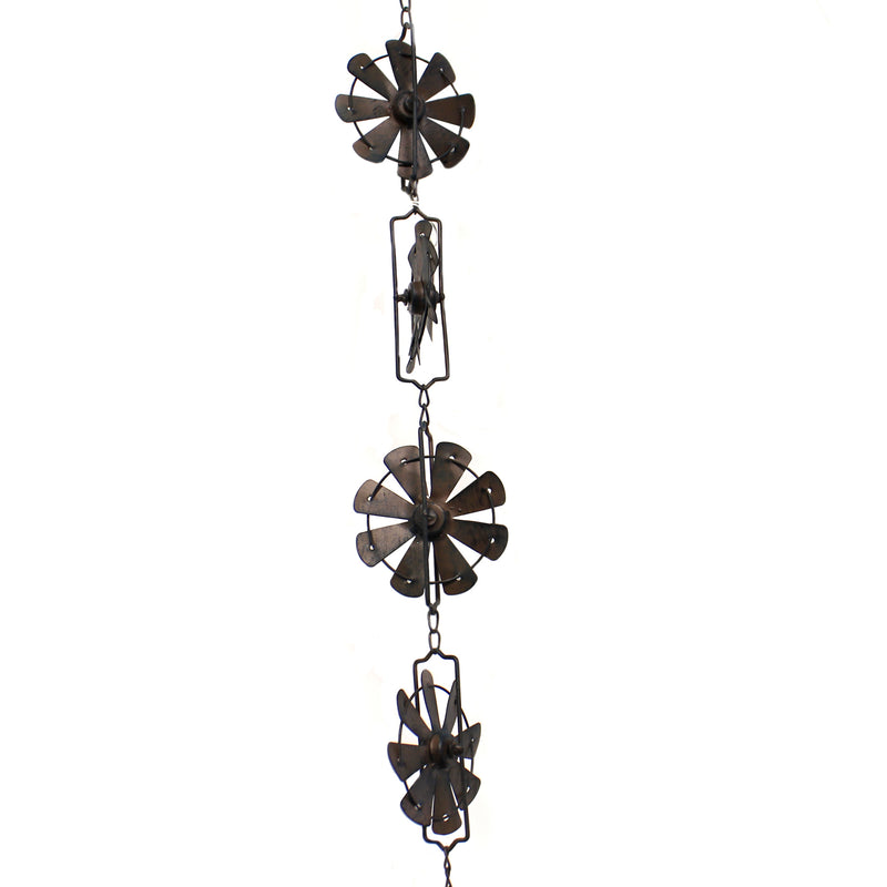 Home & Garden BROWN WINDMILL SPINNING RAIN CHAIN Iron Inspired Home 158585