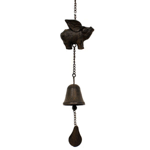 Home & Garden FLYING PIG BELL WINDCHIME Castn Iron Home Inspired 139853