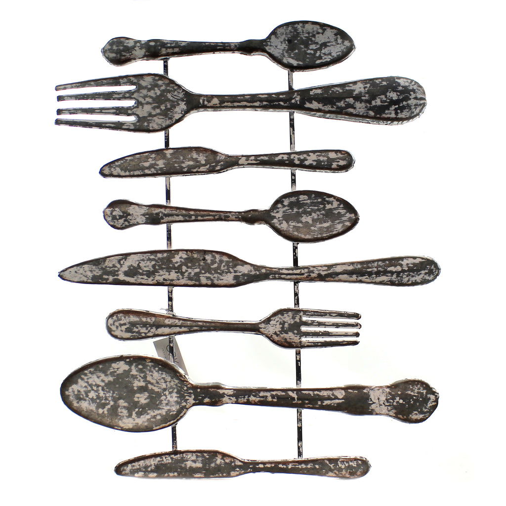 Home Decor PAINTED GALVANIZED CUTLERY WALL Metal Home Inspires 158415