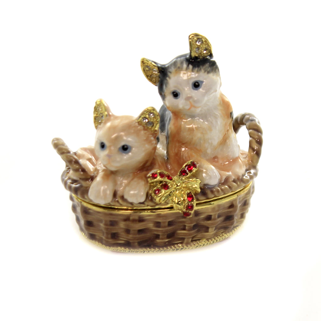 Hinged Trinket Box KITTENS IN BASKET ENAMELED BOX Metal Austrian Crystals 3441.