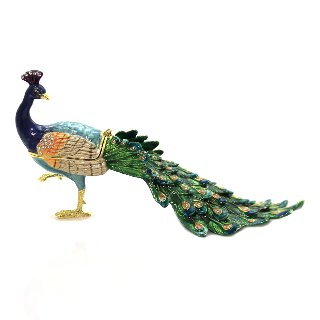 Hinged Trinket Box PEACOCK LOOKING BACK ENAMELED BOX Austrian Crystals 3233
