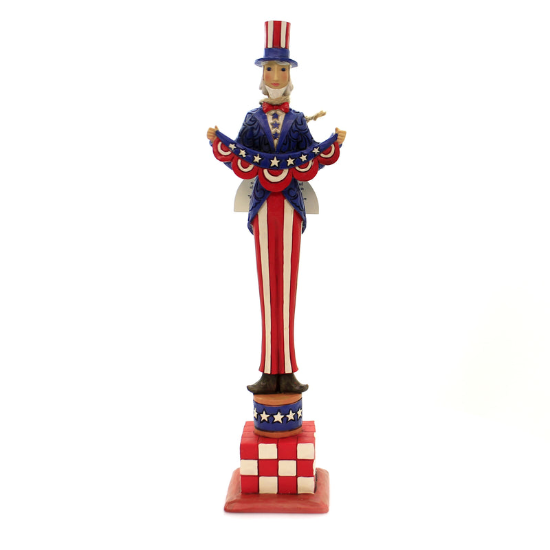 Jim Shore BOLD STRIPES, BRIGHT STARS Polyresin Tall Uncle Sam 6003976