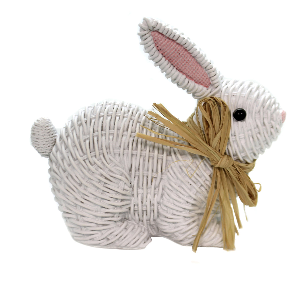 Easter BUNNIES WICKER LOOK Polyresin Rabbits White Ea17155 Laying
