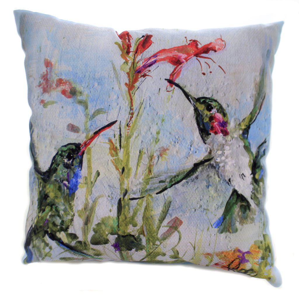 Home Decor TWO HUMMINGBIRDS PILLOW Polyester Climaweave Indoor Outdoor Sl2hmb