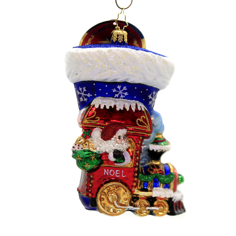 Christopher Radko NOEL EXPRESS STOCKING Ornament Train Santa Christmas 1019700