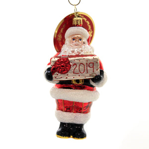 Christopher Radko DATED FOR DELIVERY 2019 Glass Ornament Dated Santa 1019846
