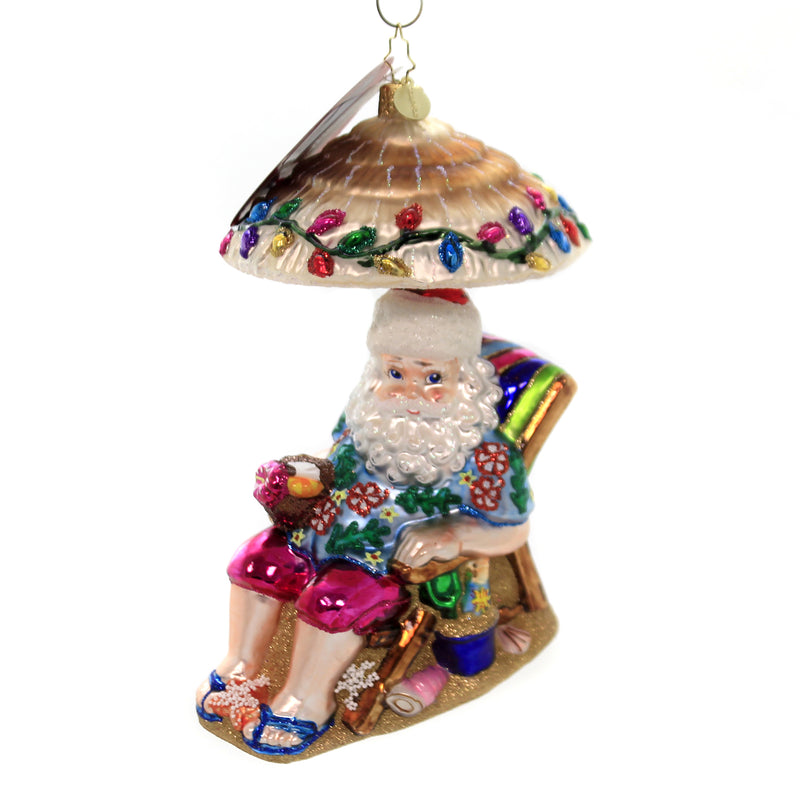Christopher Radko RELAXING BY THE BEACH Glass Ornament Santa Beach Sand 1019682