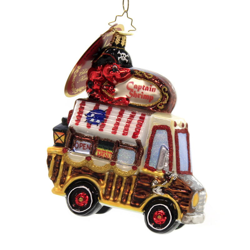 Christopher Radko SHRIMP, IT'S WHAT'S FOR DINNER Glass Ornament Food Truck 1019873