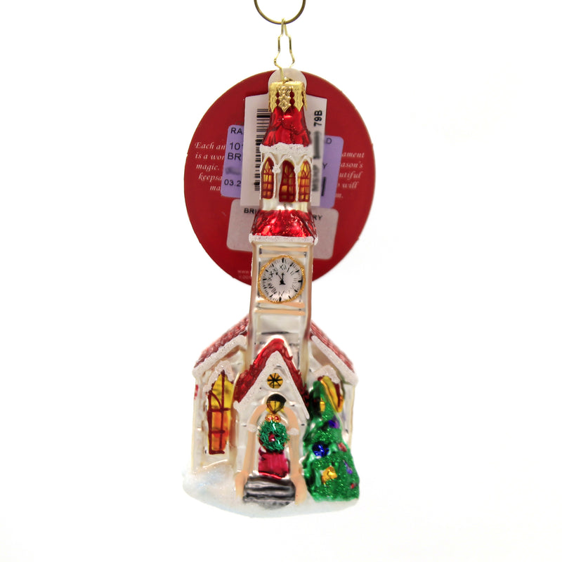 Christopher Radko BRILLIANT COUNTRY STEEPLE Glass Ornament Church Chapel 1019850