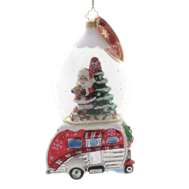 Christopher Radko ONE HAPPY CAMPER Glass Ornament Glamping Christmas 1019824