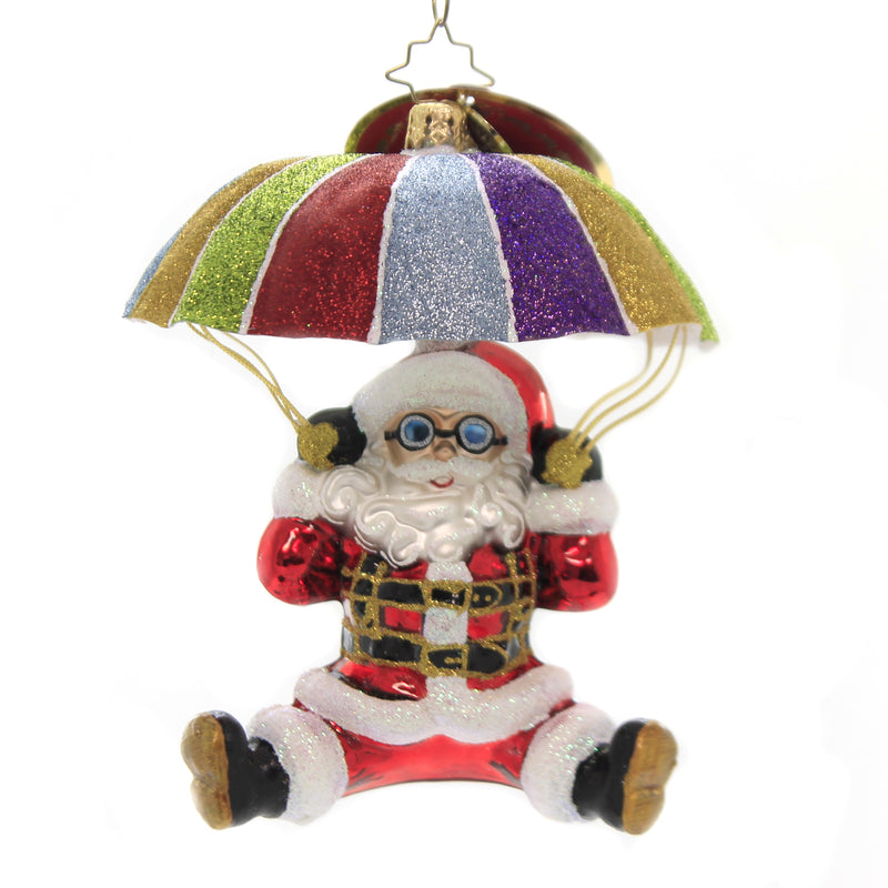 Christopher Radko LOOK OUT BELOW! Glass Ornament Parachute Christmas 1019826