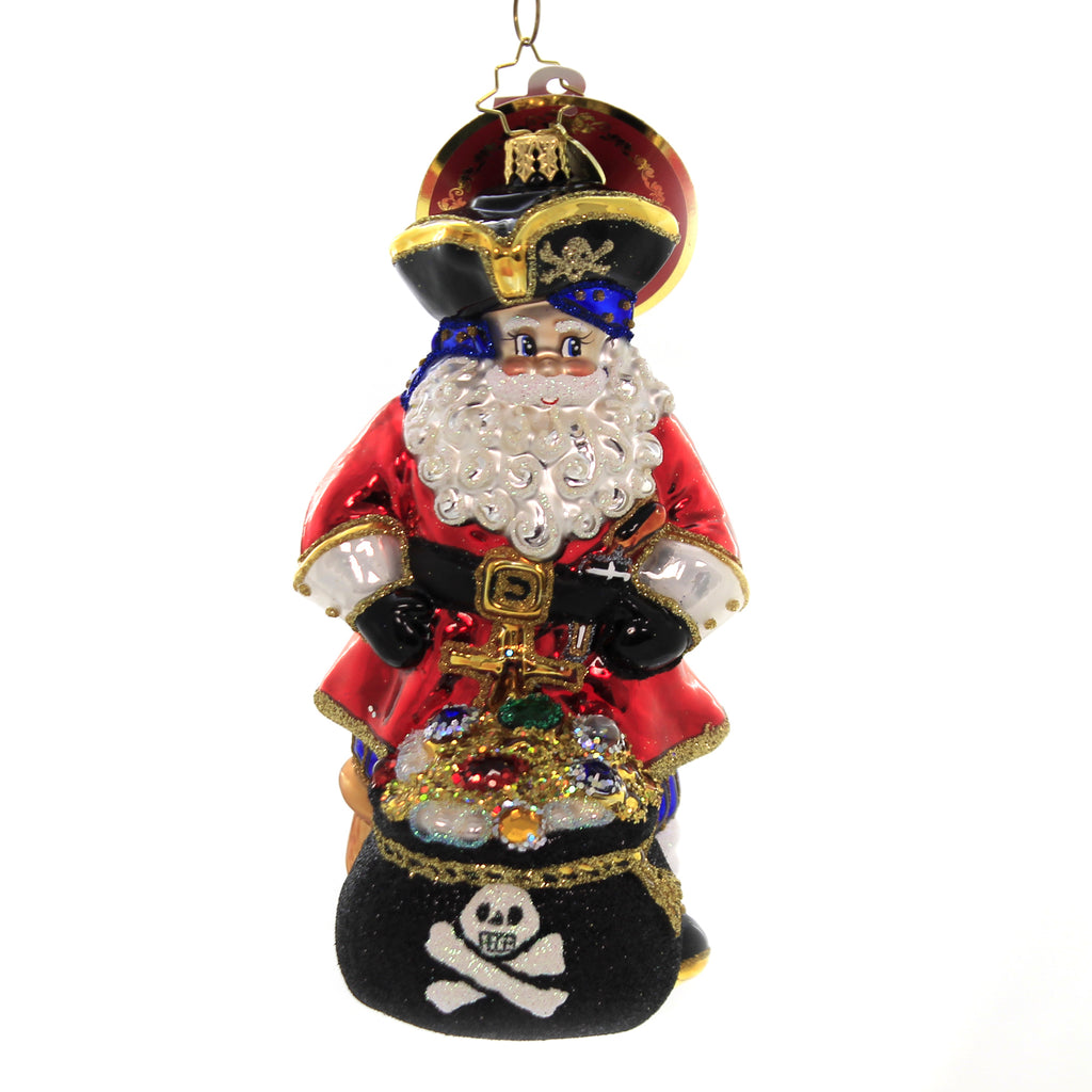 Christopher Radko A LEG TO STAND ON Glass Ornament Pirate Treasure Chest 1019313