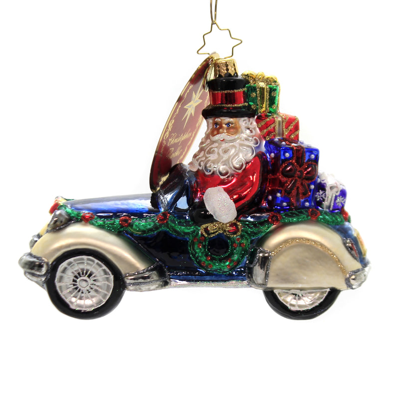 Christopher Radko RETRO ROADSTER Glass Ornament Santa Auto Car 1019872