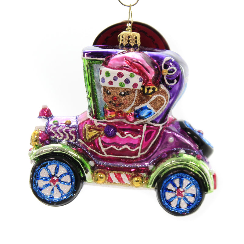 Christopher Radko SPIFFY RACER Glass Ornament Gingerbread Sweets 1020033