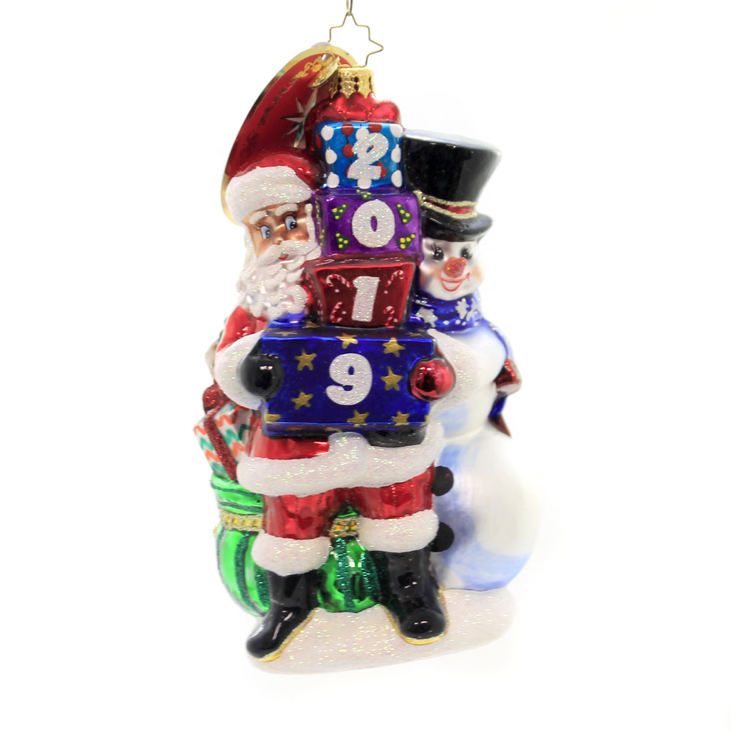 Christopher Radko 2019 WINTER FRIENDS Ornament Dated Santa Snowman 1019934