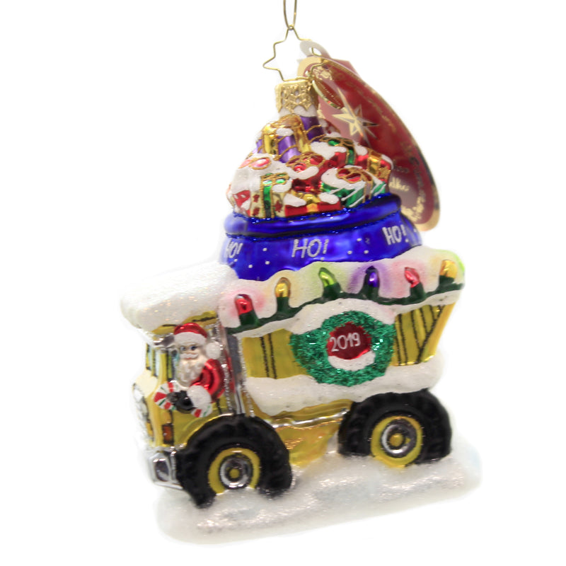Christopher Radko HAULIN' THE HOLIDAYS Ornament Dump Truck Christmas 1019893