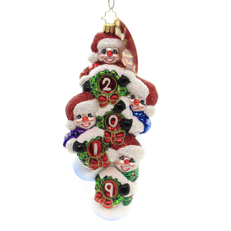 Christopher Radko QUADRUPLE THE FROSTY FUN 2019 Ornament Dated Snowman 1019980