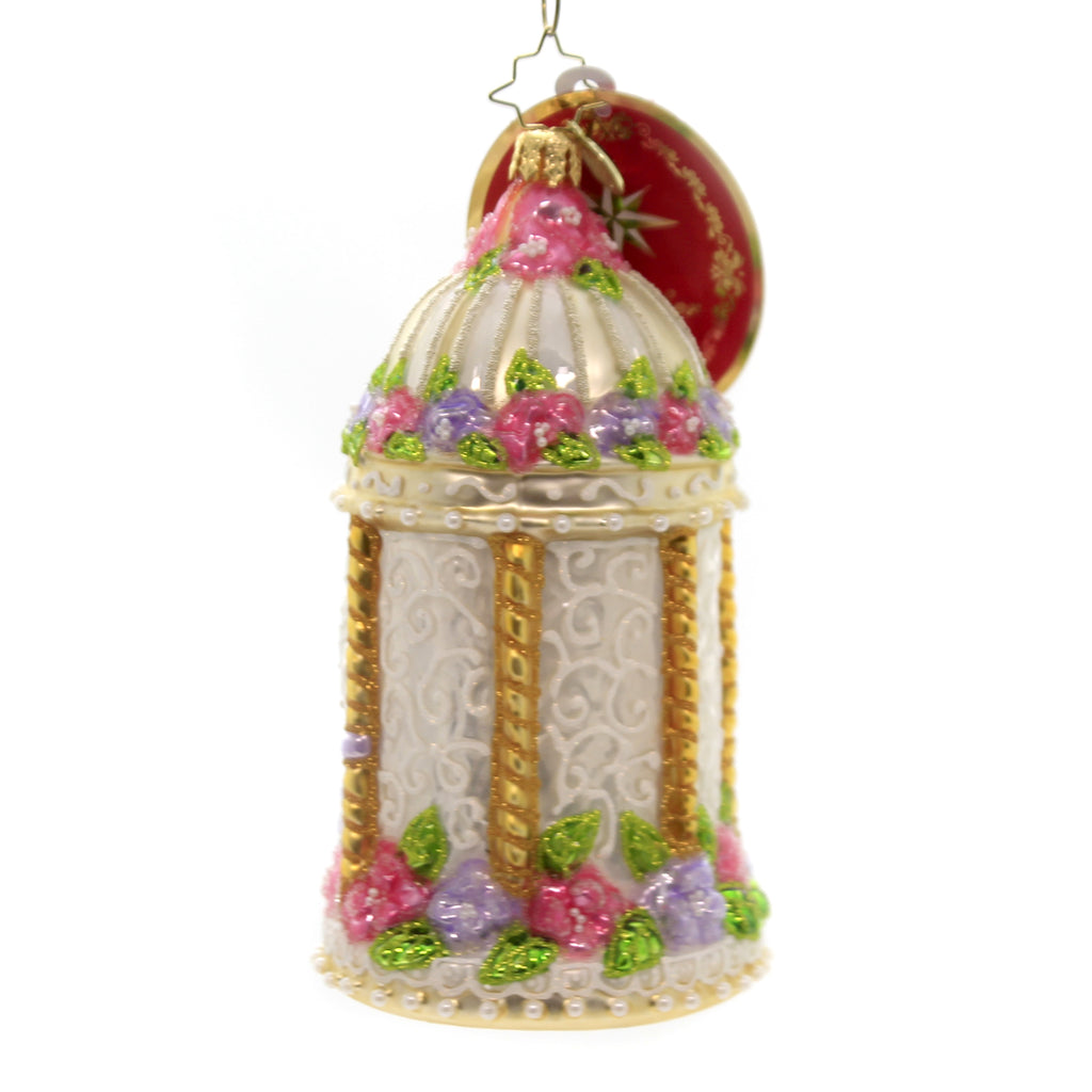 Christopher Radko GAZEBO OF LOVE Glass Ornament Wedding Floral Love 1020020