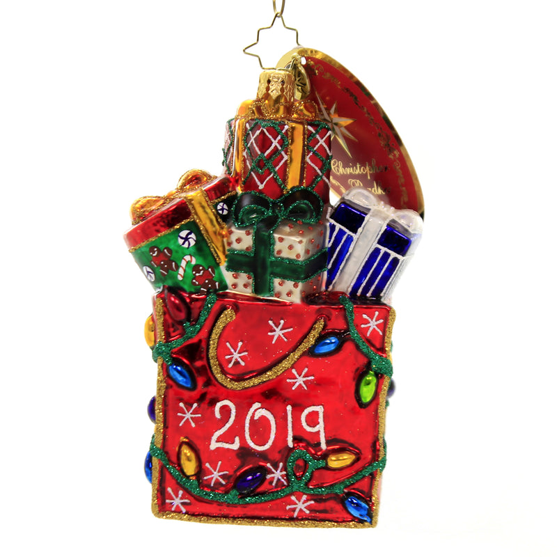 Christopher Radko 2019 GOODIE BAG Glass Ornament Dated Shopping Gifts 1019804