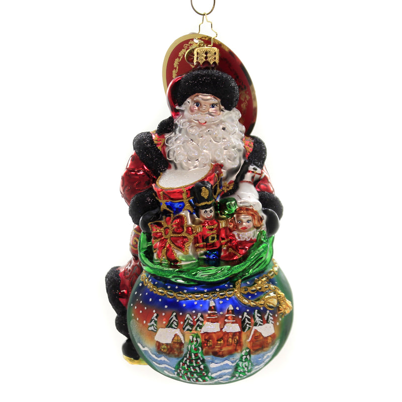 Christopher Radko DELIGHTFUL DELIVERY Glass Ornament Santa Bag Of Gifts 1019698