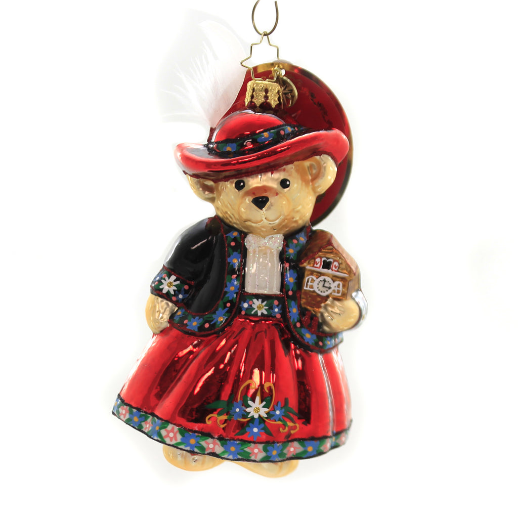 Christopher Radko TEA TIME FOR MUFFY Glass Ornament Vanderbear German 1020068