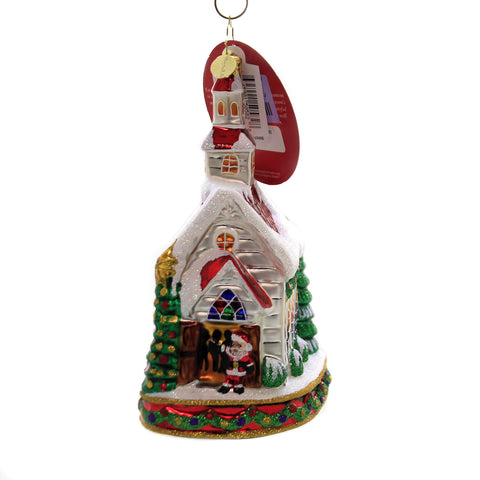 Christopher Radko WINTER SNOW SHOE SHACK Glass Boot House Christmas 981460 Pink