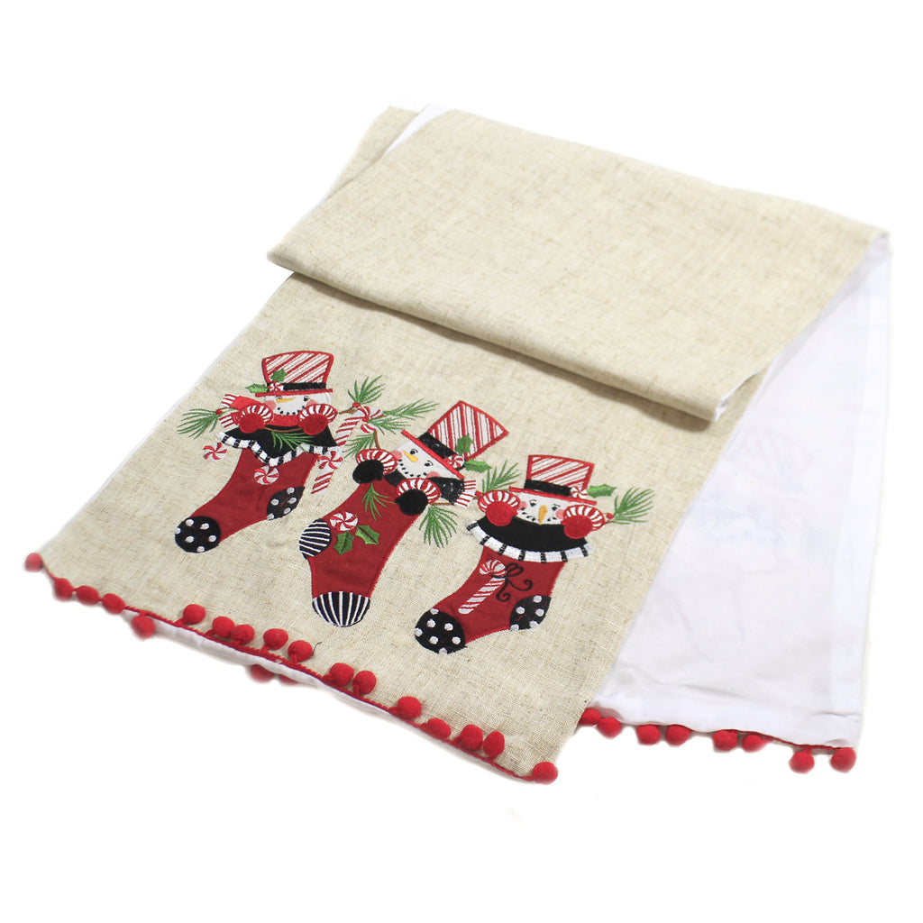 Tabletop SNOWMAN IN STOCKING TABLE RUNNER Fabric Christmas 65620