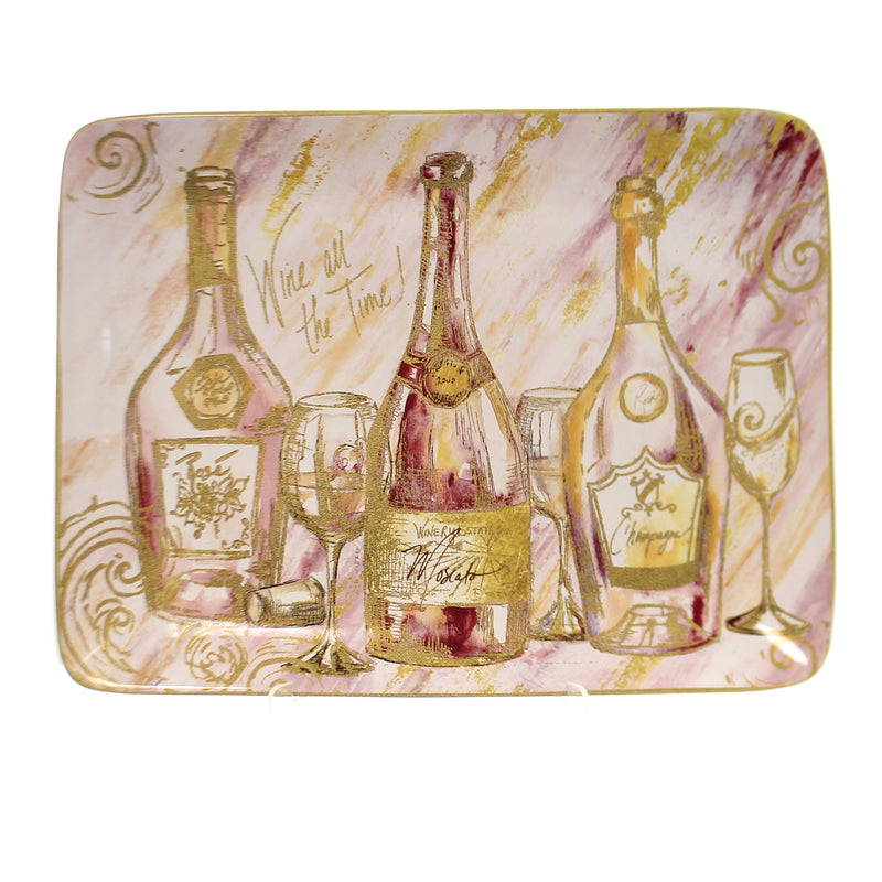 Tabletop WINE ALL THE TIME PLATTER Ceramic Alcoholic Drink Entertain 26827