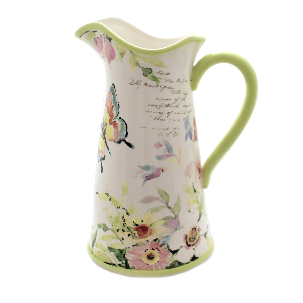 Tabletop SPRING MEADOW PITCHER Ceramic 3 Quart Water Butterfly 26639
