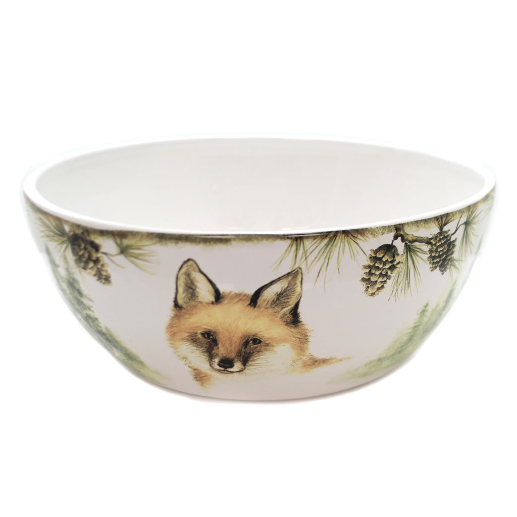Tabletop MOUNTAIN RETREAT DEEP BOWL Ceramic Fox Pinecones Woods 41846