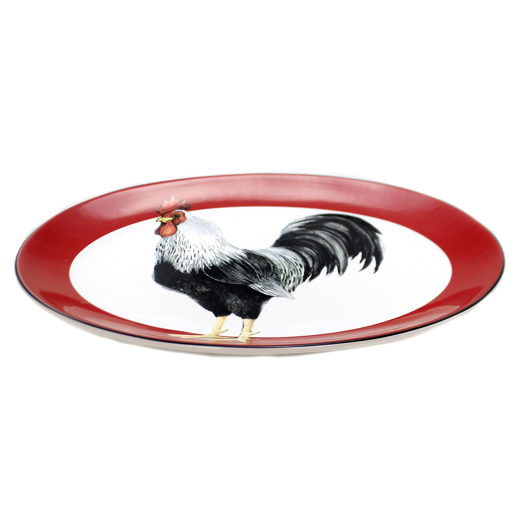 Tabletop HOMESTEAD ROOSTER OVAL PLATTER Ceramic Male Bird Feathers 26788