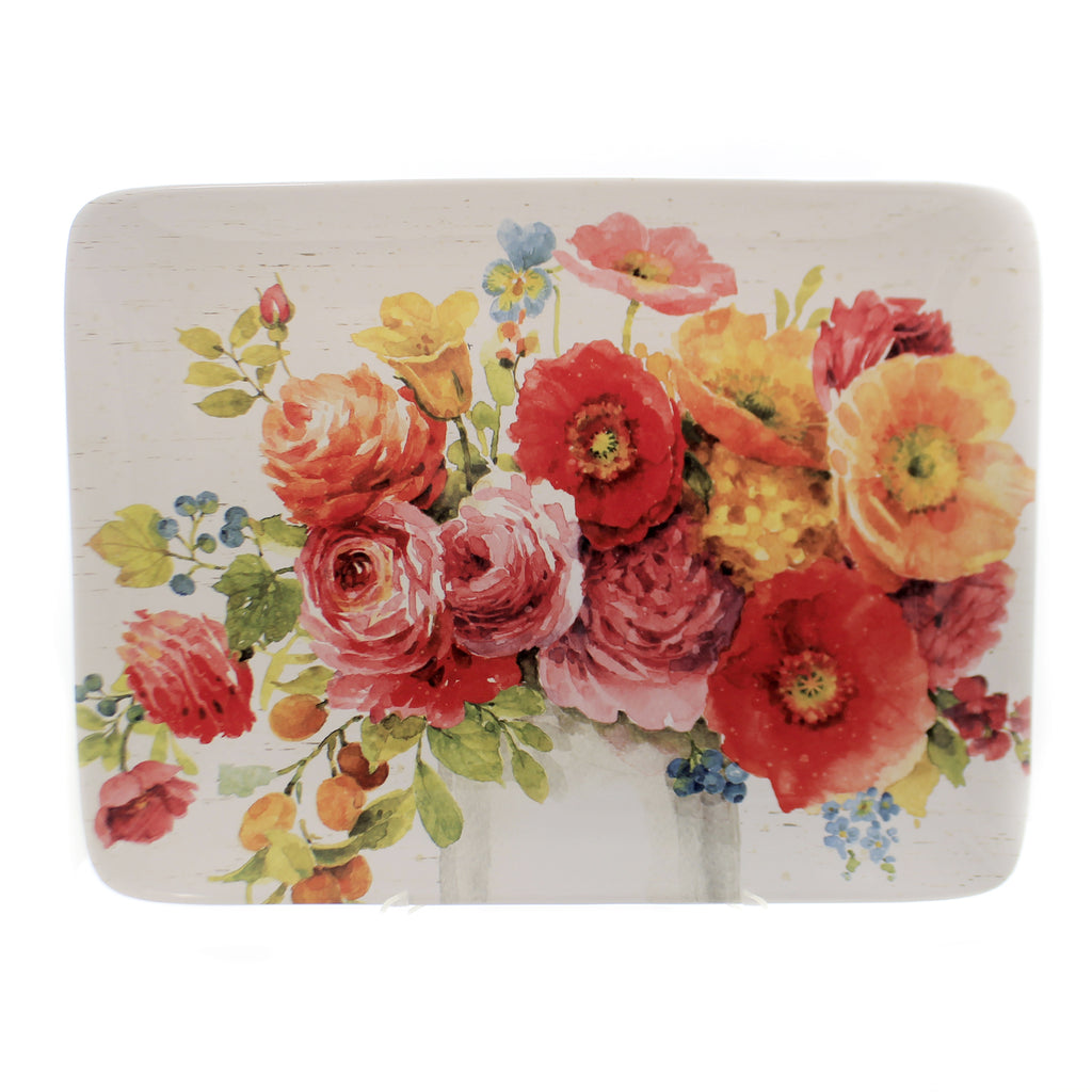 Tabletop COUNTRY FRESH PLATTER Ceramic Roses Poppies Flowers 26807