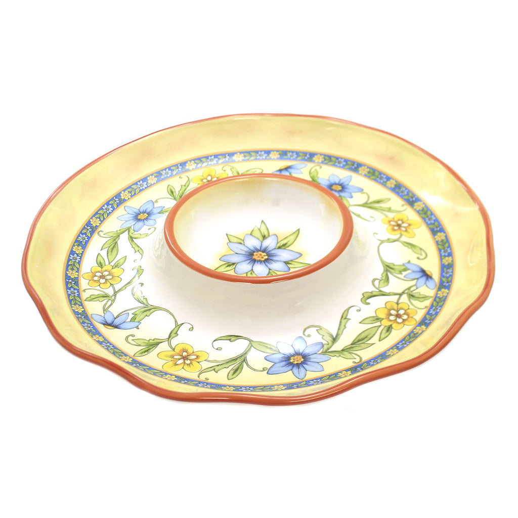 Tabletop TORINO CHIP AND DIP Ceramic Flowers Party 26773