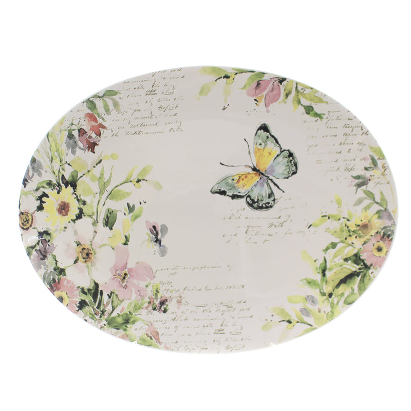 Tabletop SPRING MEADOW OVAL PLATTER Ceramic Butterfly Flowers 26649
