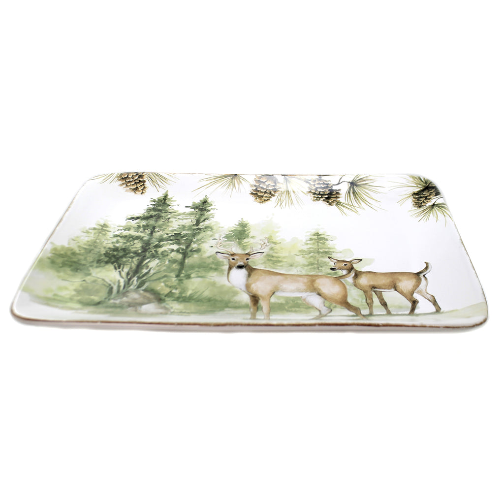 Tabletop MOUNTAIN RETREAT PLATTER Ceramic Deer Pinecones Forest 41843