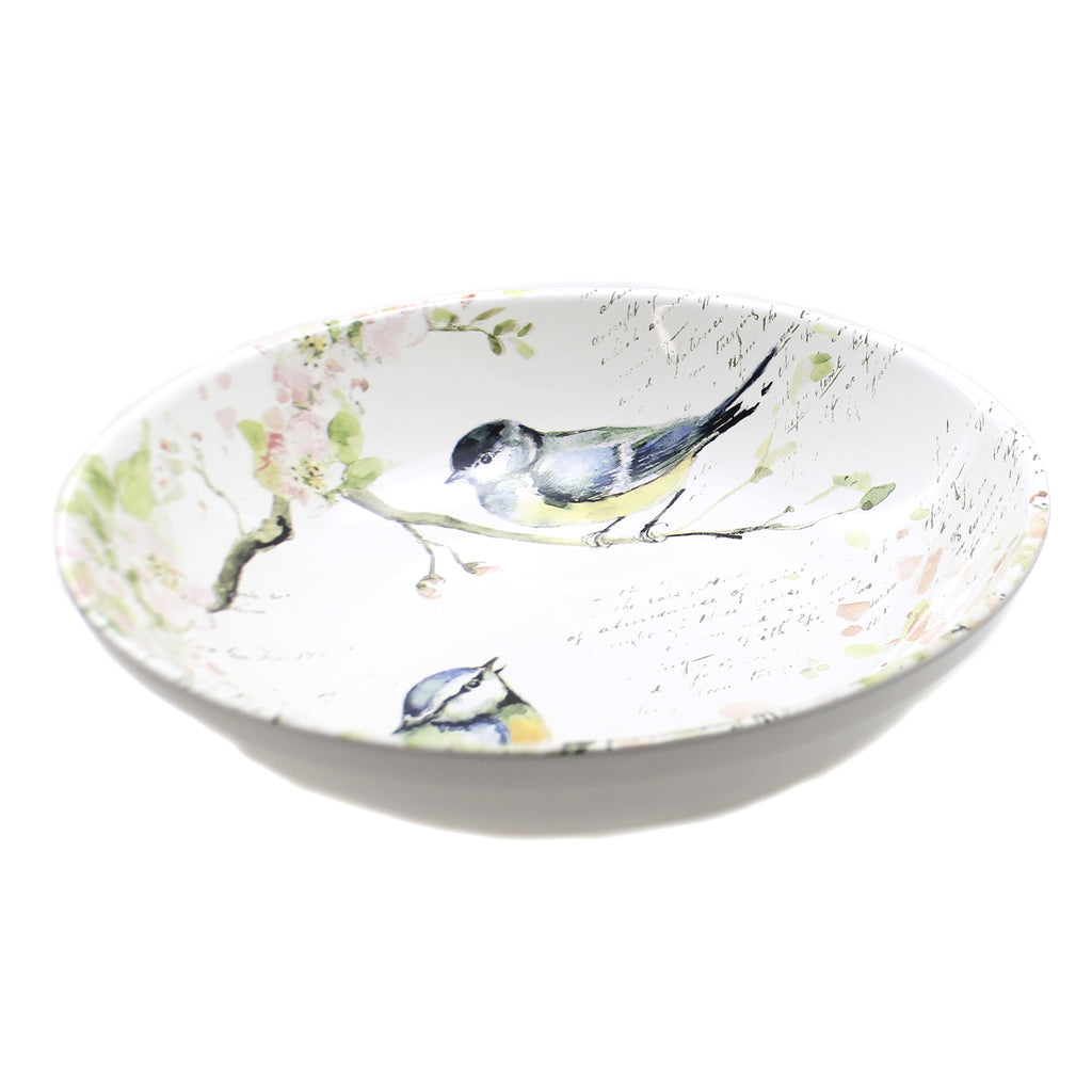 Tabletop SPRING MEADOWS PASTA BOWL Ceramic Birds Dogwood 26637