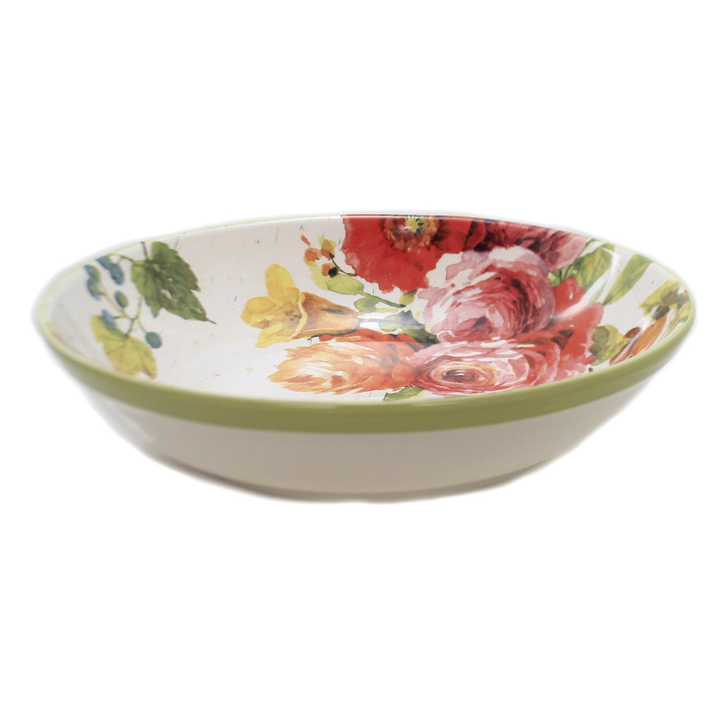 Tabletop COUNTRY FRESH PASTA BOWL Ceramic Roses Poppies Flowers 26806