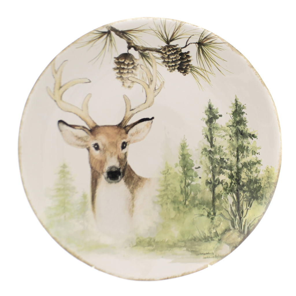 Tabletop MOUNTAIN RETREAT ROUND PLATTER Ceramic Pinecones Deer Forest 41840