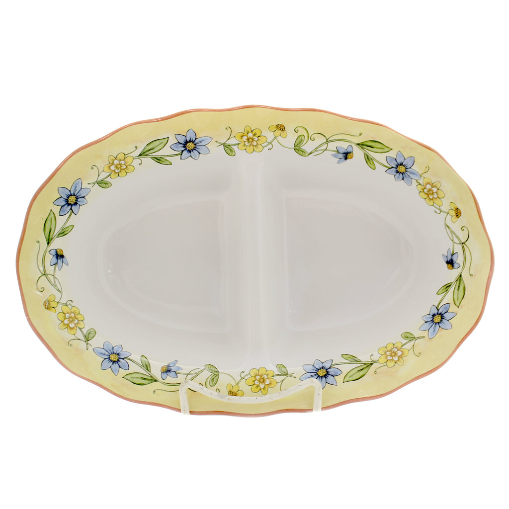 Tabletop TORINO 2 SECTION SERVER Ceramic Spring Flowers Entertaining 26772
