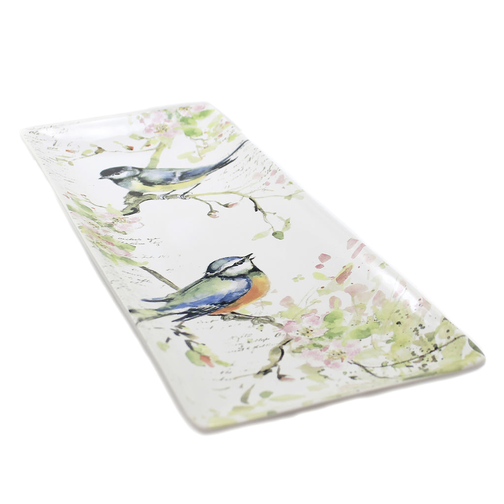 Tabletop SPRING MEADOWS PLATTER. Ceramic Rectangular Birds 26640
