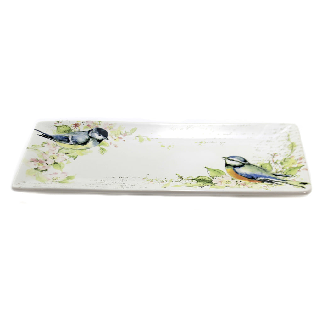 Tabletop SPRING MEADOWS RECTANGULAR TRAY Ceramic Birds Flowers 26641