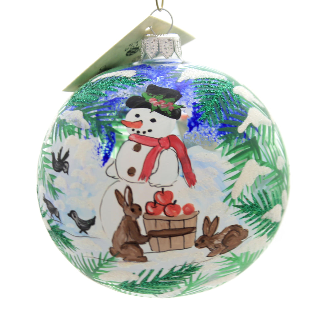 Christina's World SNOWMAN AND FRIENDS Glass Christmas Ornament Win645