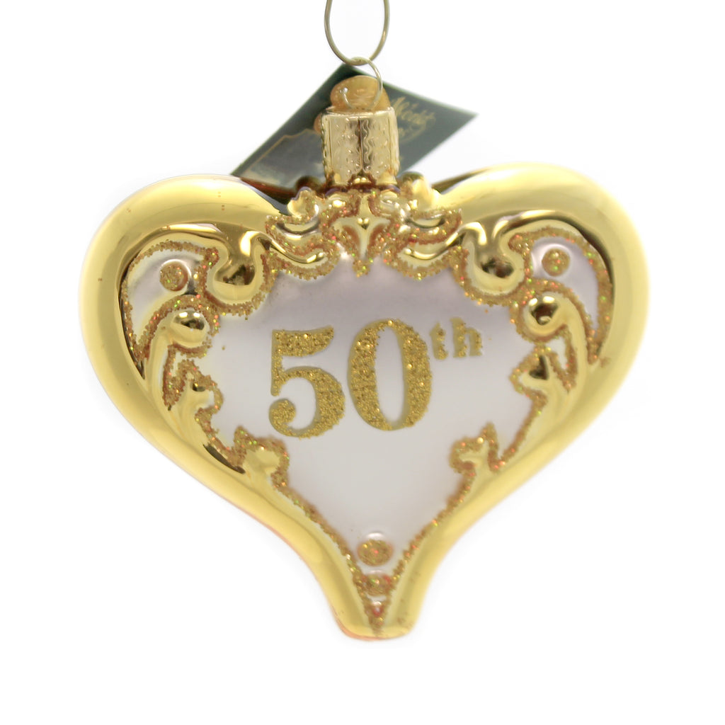 Old World Christmas 50TH ANNIVERSARY HEART Glass Wedding Golden 30056