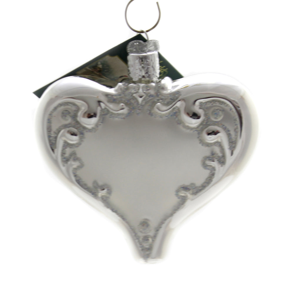 Old World Christmas 25TH ANNIVERSARY HEART Glass Wedding Silver 30055