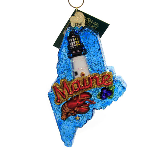 Old World Christmas STATE OF MAINE Glass Maritime History Lighthouses 36261.