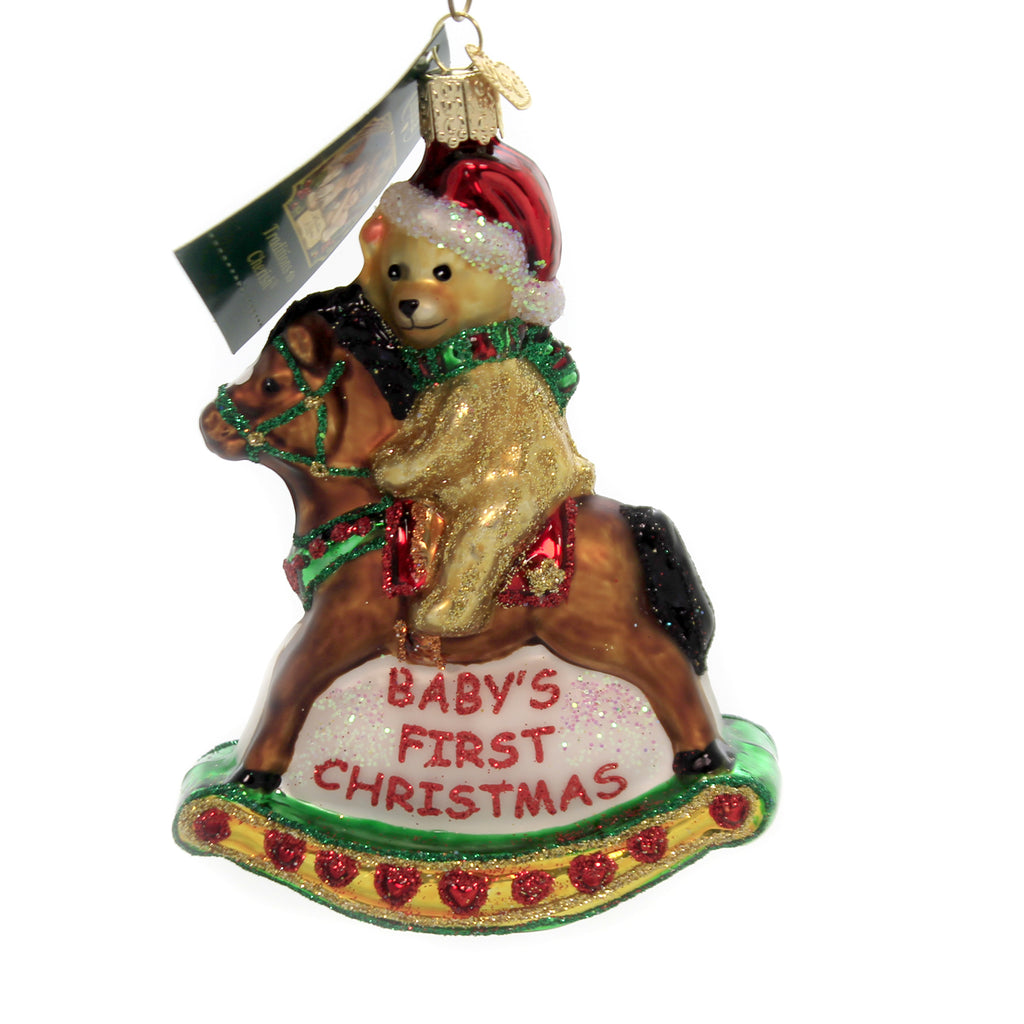 Old World Christmas ROCKING HORSE TEDDY Glass Babys First Christmas 44034