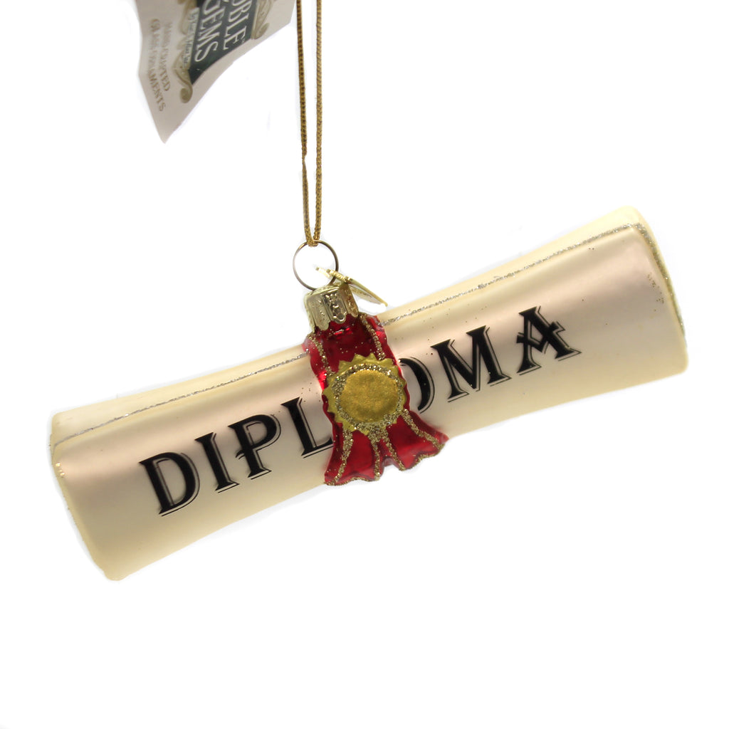 Noble Gems DIPLOMA Glass Ornament Graduation Graduate Nb1257