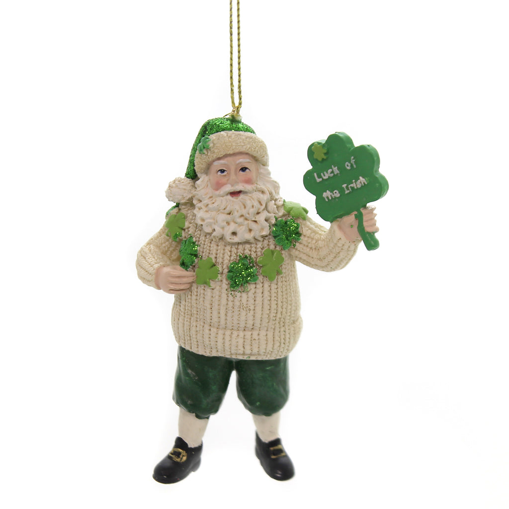 Holiday Ornaments IRISH SANTA. Polyresin Lucky Christmas C7676 Shamrock