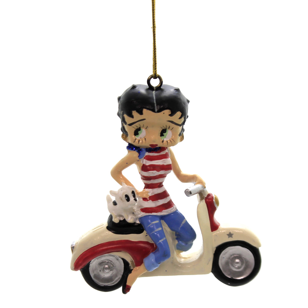 Holiday Ornaments BETTY BOOP ON SCOOTER Plastic Pudgy Christmas Bb2181