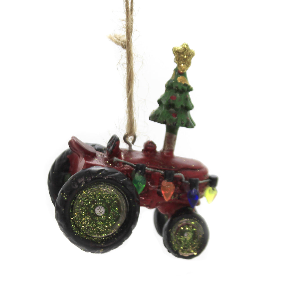 Holiday Ornaments TRACTOR Polyresin Farm Equipment Christmas J1318 Red
